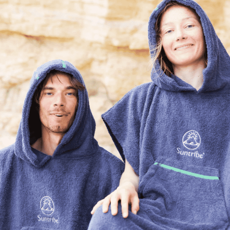 Suntribe Surf & Change Poncho Extra Thick Cosy Hoodie Cotton Adults Blue Beach Changing Towel